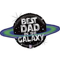 Шар фольгированный 31' 'Лучший папа в Галактике', фигура, голография