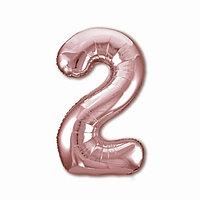 Шар фольгированный 40' 'Цифра 2', цвет розовое золото Slim