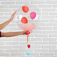 Шар полимерный 18' 'Весенний с мишурой и подвеской', розовый, 1 шт.