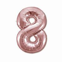 Шар фольгированный 40' 'Цифра 8', цвет розовое золото Slim