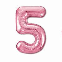 Шар фольгированный 40' 'Цифра 5', цвет фламинго Slim