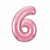Шар фольгированный 40' 'Цифра 6', цвет фламинго Slim
