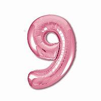 Шар фольгированный 40' 'Цифра 9', цвет фламинго Slim