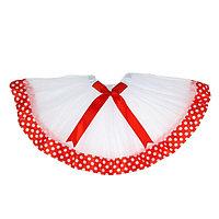 Карнавальная юбка 'Горох', с бантиком, 3-х слойная, 4-6 лет, цвет красный