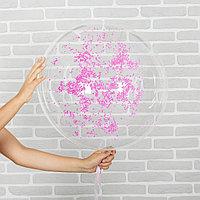 Шар воздушный 18' 'Праздник', прозрачный + розовый пенопласт, лента, гирлянда, насос