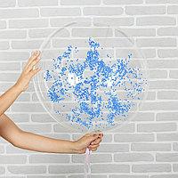 Шар воздушный 18' 'Праздник', прозрачный + голубой наполнитель, лента, гирлянда, насос