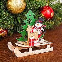Декор 'Снеговик с оленем на санях'