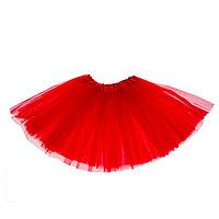 Карнавальная юбка трёхслойная 4-6 лет, цвет красный