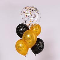Набор воздушных шаров 18', 12' с конфетти 'С днём рождения'