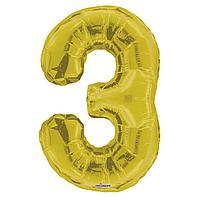 Шар фольгированный 34' цифра '3' золото