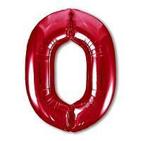 Шар фольгированный 40' 'Цифра 0', цвет красный, Slim
