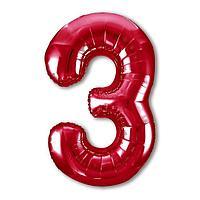 Шар фольгированный 40' 'Цифра 3', цвет красный, Slim