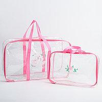 Набор сумка в роддом и косметичка 'Лебеди'