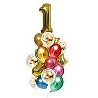 Букет из шаров 'День рождения 1 год', фольга, латекс, набор 21 шт., цвет золотой
