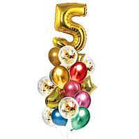 Букет из шаров 'День рождения 5 лет', фольга, латекс, набор 21 шт., цвет золотой