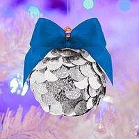 Набор для творчества. Создание новогоднего шара с пайетками, серебряный