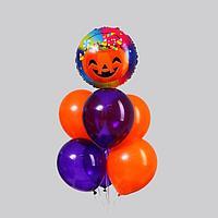 Букет из шаров 'Хеллоуин тыква', цвет фиолетовый, оранжевый, набор 7 шт.