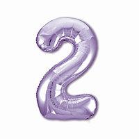 Шар фольгированный 40' 'Цифра 2', цвет пастельный фиолетовый Slim