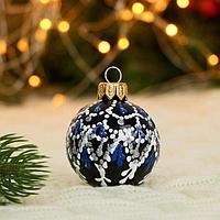 Ёлочный шар d-5 см 'Новогодний шарм' ручная роспись, чёрный