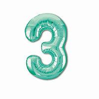 Шар фольгированный 40' 'Цифра 3', цвет бискаискии зелёный Slim