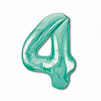 Шар фольгированный 40' 'Цифра 4', цвет бискаискии зелёный Slim