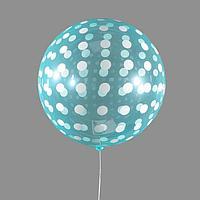 Шар полимерный 18' 'Сфера, горох', прозрачный, зелёный, цвет рисунка белый (комплект из 5 шт.)