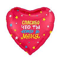 Шар фольгированный 18' 'Спасибо, что ты есть у меня', сердце (комплект из 5 шт.)