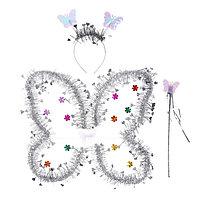 Карнавальный набор 'Бабочка', 3 предмета крылья, ободок, жезл, цвет серебряный
