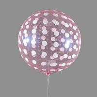 Шар полимерный 18' 'Сфера, горох', прозрачный, красный, цвет рисунка белый (комплект из 5 шт.)
