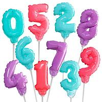 Шар самодув 3' 'Цифра 0-9', с палочкой, самодув, набор 10 шт., цвет серебряный
