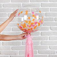 Шар полимерный 18' 'Весенний с бумажным хвостиком', конфетти, цвет коралловый, 1 шт.