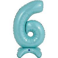 Шар фольгированный 25' 'Цифра 6', на подставке, для воздуха, цвет пастельно-голубой