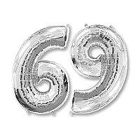 Шар фольгированный 40' 'Цифра 6/9', цвет серебряный