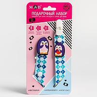 Подарочный набор держатель для пустышки и значок для мамы 'Пингвинчик'