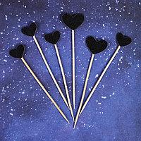 Топпер 'Сердце', набор 6 шт., цвет чёрный