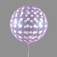 Шар полимерный 18' 'Сфера, горох', прозрачный, фуксия, цвет рисунка белый (комплект из 5 шт.)