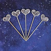 Топпер 'Сердце', набор 5 шт., цвет серебряный