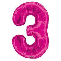 Шар фольгированный 34' цифра '3' розовая