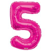 Шар фольгированный 34' цифра '5' розовая