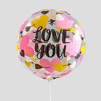 Шар полимерный 18' 'Я люблю тебя', нежные сердечки, круг (комплект из 5 шт.)