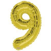 Шар фольгированный 34' цифра '9' золото