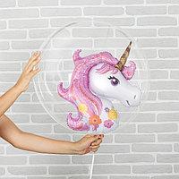 Шар полимерный 18' 'Единорог розовый', шар в шаре