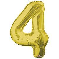 Шар фольгированный 34' цифра '4' золото