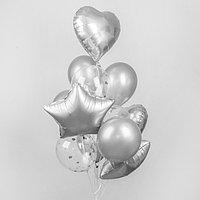 Букет из шаров 'Хром', фольга, латекс, с конфетти, набор 14 шт., цвет серебряный