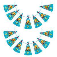 Гирлянда из колпаков 'С днём рождения', вкусняшки, 200 см, цвет голубой