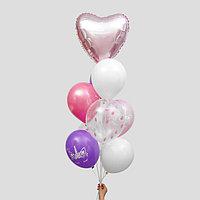 Букет из шаров 'Сердце' с конфетти, латекс, фольга, набор 9 шт.