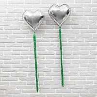 Шар фольгированный 18' 'Сердце' с лентой из фольги, набор 2 шт., индивидуальная упаковка, цвет серебряный
