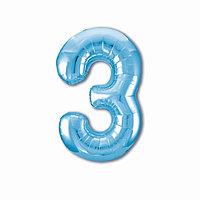 Шар фольгированный 40' 'Цифра 3', цвет холодный голубой Slim