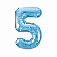 Шар фольгированный 40' 'Цифра 5', цвет холодный голубой Slim