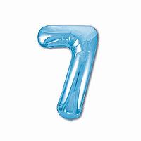 Шар фольгированный 40' 'Цифра 7', цвет холодный голубой, Slim